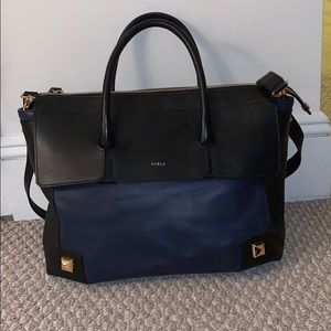Furla Tote - Navy and Black